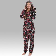 Hooded 100% polyester microfleece lounger/pajamas with front zip, pouch pocket and rib cuffs.