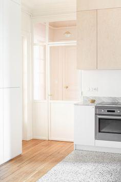 Designed by heju. Minimalist Kitchen, Minimalist Interior, Terrazo Flooring, Architecture Parisienne, Architecture Renovation, Bali House, House Viewing, Apartment Kitchen, Kitchen Flooring