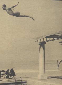 CatsandJammer - Buster taking a high dive in BIarritz in his summer of 1930 trip to Europe