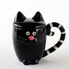 Black Cat with Lid Coffee / Tea Cup / Mug in Gift Box,5.5 Inches,Adorable~: Amazon.com: Home & Kitchen