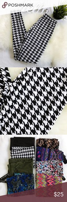 OS Butter Soft Houndstooth print leggings NWT NWT no flaws.   Black & white Fabric is just like the buttery soft fabric used by Lularoe (however slightly thicker/nicer).  Elastic waistband.   One Size fits 0-12.  No modeling requests please.  Last photos shows other prints I have available in additional listings Please Review all photos thoroughly  Feel free to ask questions.  🚫trades 🚫modeling requests 👍🏻Reasonable offers welcome! Pants Leggings