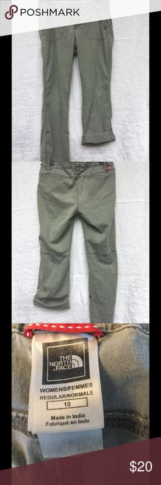 The North Face Travel Convertible Pants Soft, lightweight, travel pants. Roll them up when it gets warm or you're ready to go wading. 98% cotton, 2% Spandex. A pale olive/moss green. The North Face Pants