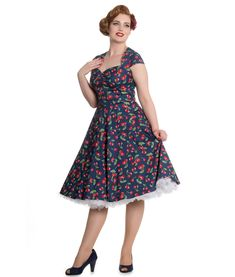 Beautiful, stretch cotton, 50s style dress with a pretty red cherry pattern on an ''Estate Blue'' background.