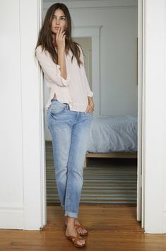 Oversized blush top and jeans