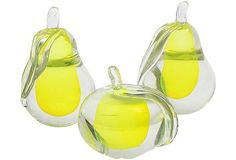 Glass Pears & Apple, Set of 3