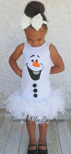 Disney Inspired Frozen Olaf Feather Dress. I could totally make something like this for Lila @bess76 !