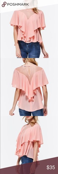 Coral Ruffle Top Asymetric Coral Ruffle top Tops Blouses