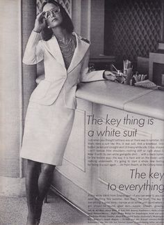 Vogue 1973, the key thing is still a white suit. And the key to EVERYTHING is a tiny white bathing suit (can't believe I forgot). #fashion #editorial