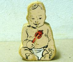 Vintage rare wooden Walter Czuczka BABY People WC wood figure toys 1950's wonderful worn patina country traditional chubby adorable cute