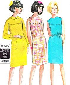 1960s Dress Pattern McCalls 7859 Mod Yoked Shift by paneenjerez, $14.00