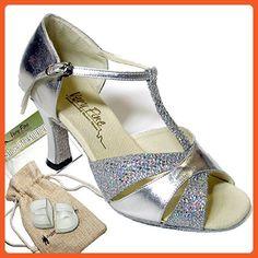 "Women's Ballroom Dance Shoes Tango Wedding Salsa Dance Shoes Silver Leath & Silver Sparklent 6016EB Comfortable - Very Fine 3"" Heel 9 M US [Bundle of 5] - Athletic shoes for women (*Amazon Partner-Link)"