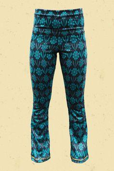 Talulabelle Petrol blauwe bloemen broek met aqua accenten floral print pants petrol blue