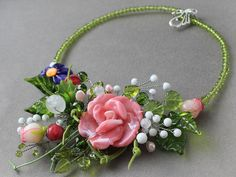 #Lampwork #Glass #Necklace #Artisan #Handmade #Jewelry #Floral #Focal #Pendant