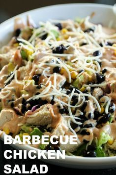 I am the biggest fan of BBQ Chicken pizza, but sometimes I feel so heavy and gross after I eat it, so I thought to myself... why not turn it into a salad? So that's exactly what I did, and I think I have a new favorite lunch! Healthy Eating Recipes, Healthy Dishes, Healthy Meals, Side Dish Recipes, Easy Dinner Recipes, Easy Recipes, Side Dishes, Recipe Using Chicken Breasts, Fast Easy Meals