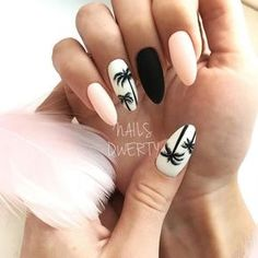 "If you're unfamiliar with nail trends and you hear the words ""coffin nails,"" what comes to mind? It's not nails with coffins drawn on them. It's long nails with a square tip, and the look has. Cute Summer Nail Designs, Cute Summer Nails, Fun Nails, Pink Summer, Nail Summer, Summery Nails, Summer Nails 2018, Style Summer, Simple Nails"