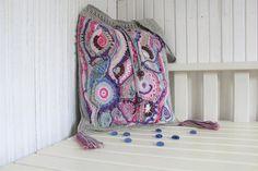 Lavender and Ash. Crochet Summer hobo bag / Beach bag. Cotton and Linen Gray Pink Lilac. Boho Bag