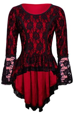 Vampy Victorian Velvet Red Top - The Violet Vixen