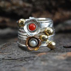 Flower Stacking Ring Silver Rings