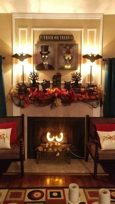 Cheap DIY Dollar Store Halloween Decoration ideas to spook your guests - Hike n Dip - - This Halloween spooke your guests with a scary and spooky Halloween decoration for your home. Try these Cheap DIY Dollar Store Halloween Decoration ideas. Halloween Tisch, Halloween Fireplace, Casa Halloween, Fireplace Set, Spooky Halloween Decorations, Halloween Home Decor, Halloween Crafts, Women Halloween, Halloween Party
