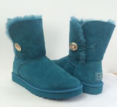 UGG Bailey Bling Button Ornate Teal Genuine Shearling Lining Boot 7M MSRP$199.95…