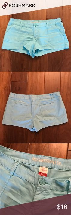 Teal blue Mossimo shorts, size 9 Teal blue Mossimo shorts, size 9. These jean-like shorts are super cute and have pockets, but are made from cotton and spandex pant material instead of denim. Waist measures 33 inches, inseam measures 2 inches. Mossimo Supply Co. Shorts
