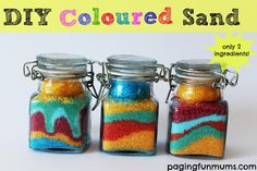 DIY Coloured Sand - you can make this gorgeous stuff with only 2 household ingredients! For colored sand for tea light holders. Farbiger Sand, Sand Art, Summer Activities For Kids, Craft Activities, Babysitting Activities, Preschool Projects, Toddler Activities, Preschool Activities, Fun Projects