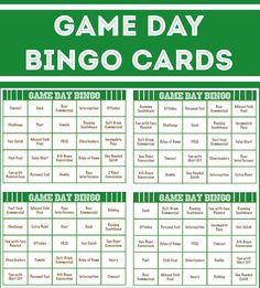 Free Football Bingo Cards  Big Game Free Printable And Dads