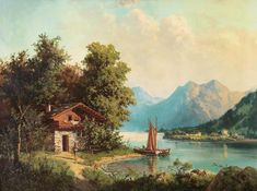 View Lake house by Hoca Ali Riza on artnet. Browse upcoming and past auction lots by Hoca Ali Riza. Fantasy Landscape, Landscape Art, Landscape Paintings, Beautiful Paintings Of Nature, Nature Paintings, Oil Painting Pictures, Pictures To Paint, Scenery Pictures, Cottage Art