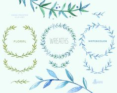 Floral Wreaths 2. 10 Watercolor digital Clipart. от OctopusArtis