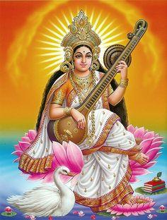 Goddess Saraswati Devi 1140 - Hindu Posters (Reprint on Paper - Unframed) Saraswati Photo, Saraswati Mata, Saraswati Goddess, Durga Maa, Saraswati Vandana, Durga Images, Religion, Indian Goddess, Hindu Festivals
