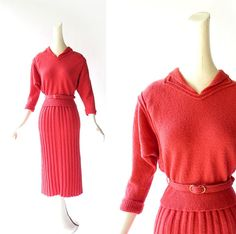 A vintage 1940s coral pink wool chenille sweater and skirt set. Calf length skirt with vertical ribs, and cute collared sweater with matching