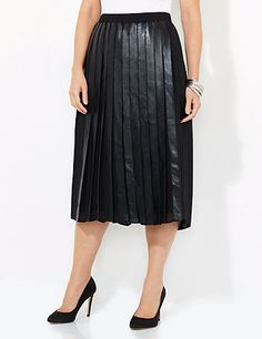 We imagine you walking the streets in style with this modern and sophisticated skirt. Faux leather pleats cascade down the front and back for a slimming look. Pair it back to our Sleek Street Jacket. Elastic waistband. Flat panels on sides. Fully lined. To provide a stylish and comfortable fit, Catherines plus size skirts are made specifically for a fuller figure. catherines.com