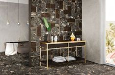 An exclusive collection, Leon d'Oro by is inspired by the original flooring in the Italian restaurant that shares the same name. The three luxurious colours are each complemented b Design Studio Office, Bathroom Gallery, Terrazzo Flooring, Contemporary Design, Tiles, Colours, Traditional, The Originals, Architecture