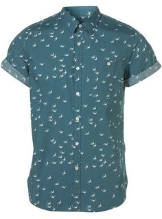 Green swallow pattern short sleeve shirt $52