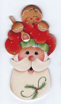 GINGERBREAD and SANTA - Handpainted by Pamela House
