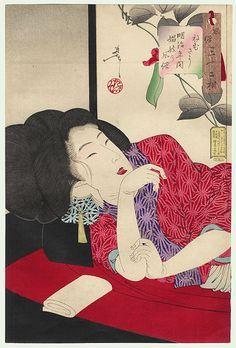 Resultado de imagen de yoshitoshi beautiful woman woodblock print