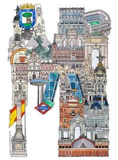 La M de Madrid - ilustración del japonés Hugo Yoshikawa // más letras de ciudades europeas fuera de España :  http://whatanart.com/2014/02/14/illustrated-alphabet-of-european-cities-hugo-yoshikawa/