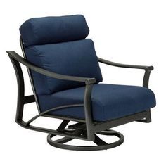 Tropitone Corsica Action Lounger Rocking Chair with Cushions Finish: Graphite, Fabric: Spectrum Indigo