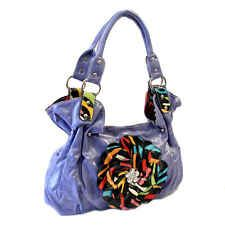 Periwinkle Purple Glossy Leather Style Fashion Lilac Handbag with Rainbow Flower