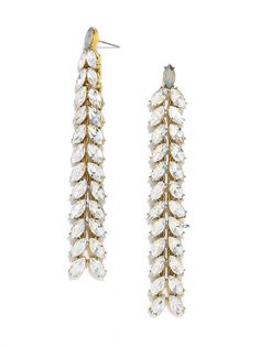 Benoit Drops | We love how long these are - they will make a dramatic statement! #earrings #statement #baublebar #swatstyle