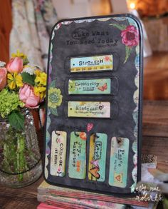Inspired by the old hymnal board slides, you simply choose the metal tags from the bottom hooks and slide them into the slots above. How cool is that? Put it on your desk, kitchen counter, or anywhere you can take a moment to practice a daily little ritual of pausing, breathing, and taking what you need.   How sweet would this be to boost morale in an office!