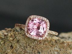 Pink Sapphire Engagement Ring Cushion & by BellAmoreDesign on Etsy