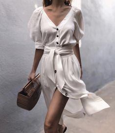 Puff Sleeve Button Through Legeres Kleid mit Gürtel - chiquebabe_official - O. - Puff Sleeve Button Through Legeres Kleid mit Gürtel – chiquebabe_official – Outfits – Source by - Date Outfits, Trendy Outfits, Fashion Outfits, Fashion Tips, Fashion Clothes, Fashion Brands, Fashion Ideas, Dress Fashion, Fashion Designers
