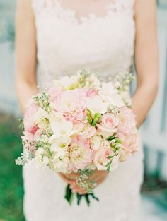 Beautiful Pink Bouquet | See the wedding on SMP: http://www.StyleMePretty.com/southeast-weddings/2014/02/06/romantic-wedding-in-historic-st-augustine/ Jennifer Blair Photography