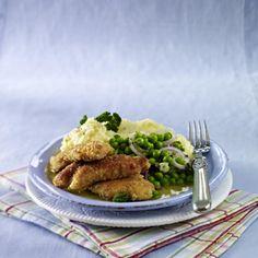Fitgericht: Knusperhähnchen und Erbsen zu Kartoffelstampf Rezept
