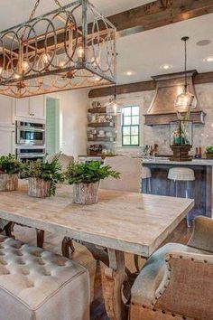 Youre Invited - Open Floor Plans We Love - Southernliving. Relax and entertain in this living space. The open floor plan encourages bot. Outdoor Kitchen Design, Home Decor Kitchen, Rustic Kitchen, Home Kitchens, Kitchen Open To Living Room, Farmhouse Kitchen Light Fixtures, Kitchen Ideas, Kitchen Decorations, French Kitchen