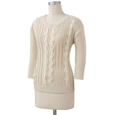 LC Lauren Conrad Ribbon Cable-Knit Sweater ($20) ❤ liked on Polyvore