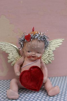 Vintage Style Valentine Doll Tiny Cupid by MagpieEthel on Etsy