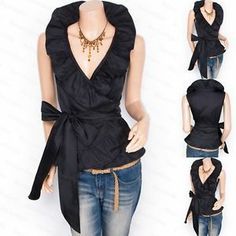 Black Flounce Ruffles Collar Belt Sleeveless Wrap Cardigan Shirt Blouse Top