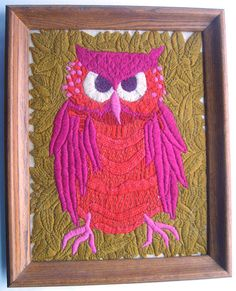 Large Colorful Retro Owl Crewel Embroidery